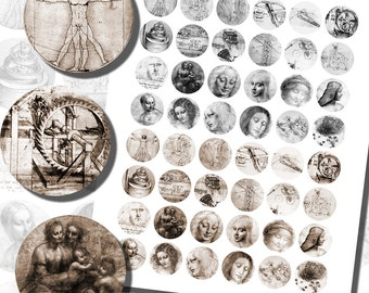 Leonardo da Vinci Sketches Printables, ONE INCH CIRCLES (25 mm), with 1/2 inch (13mm) and 3/4 inch (20mm) circles also included