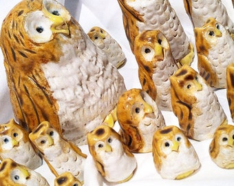 Cute owls, Owl decor, tiny owls, woodland owls, ceramic sculpture, toy owls, folk art owls, woodland animals, decorative owls, owl toy
