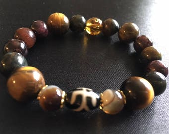Natural Tiger's eye jasper gemstone bracelet dzi bead