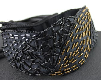 Black and Gold Sequin Beaded Belt / Cummerbund