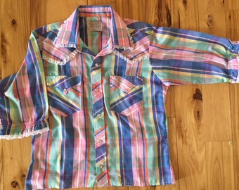 Vintage Ladies HBarC Ranchwear 3/4 Sleeve Western Shirt