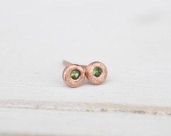 14 k rosegold pebble earrings with tsavorite