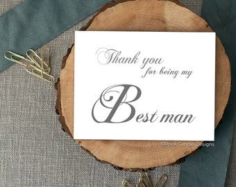 Thank You For Being My Best Man Card | Wedding Day Stationery | Card for Best Man | Best Man Gift | Thank You Card | Card from Groom | Note