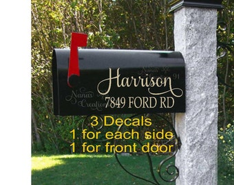 Mailbox Decal, Custom Mailbox, Personalized Mailbox, Curb Appeal, Mailbox Sticker, Mailbox House Numbers, Lettering for Mailbox Name Address