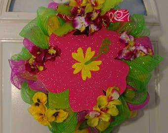 Hawaiian Hibiscus Deco Mesh Wreath