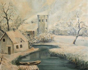 European art antique oil painting landscape winter signed