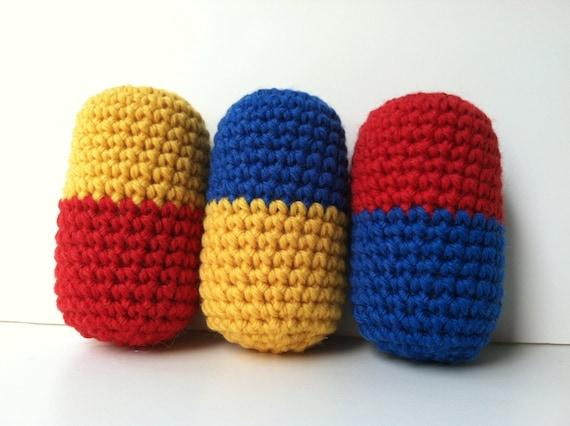 Amigurumi Nintendo : Baby rattles dr mario pill amigurumi crochet set of