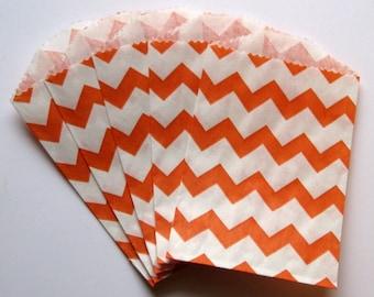 "Set of 10 Orange and White Chevron Design Middy Bitty Bags (5"" x 7.5"")"