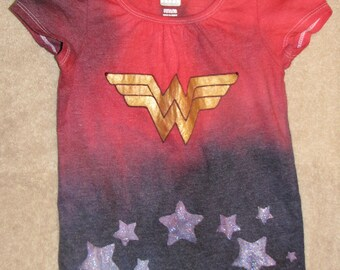 Wonder Woman inspired, hand tie dyed & painted 3T avaiable