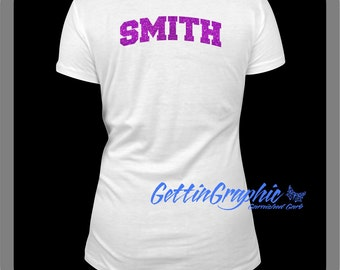 Add a Glitter name to back of shirt