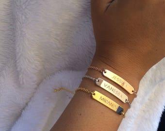 Name Bracelet Personalized, Custom Name Bracelet, Engraved Bracelet, Bar Bracelet, Bridesmaid Gift, Personalized Bar Bracelet