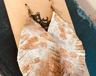 Leather cowhide Feather earrings