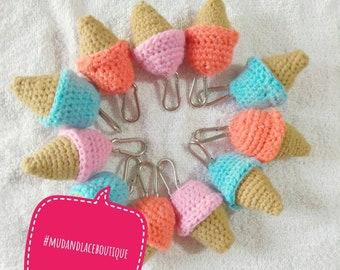 Ice cream cone plush keychain handmade ready to ship choose color