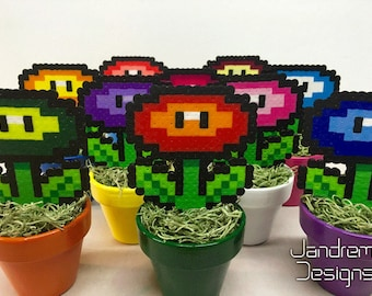 Fire Flower potted plant bead sprite CUSTOM COLORS