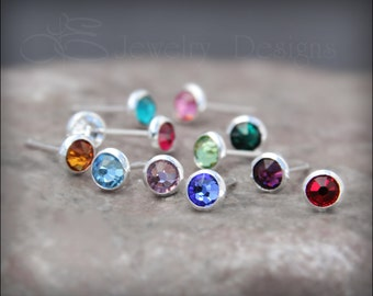 tiny BIRTHSTONE STUD EARRINGS - tiny 4mm swarovski crystal, 12 colors, small birthstone earrings, tiny stud, bridesmaid earrings jewelry