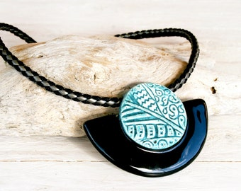 Half moon ceramic pendant, Ceramic statement necklace, Black and turquoise ceramic necklace, Ceramic collar, Ethnic necklace, Gift for her