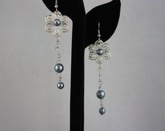earrings, drop earrings, dangle earrings, pearl earrings, filigree earrings, handmade jewelry