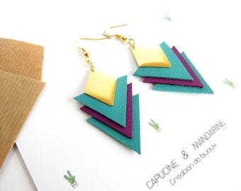 Triangle earrings - leather purple green turquoise {wife jewelry leather Wax earrings}