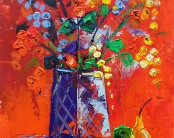 Autumn still life; original oil painting