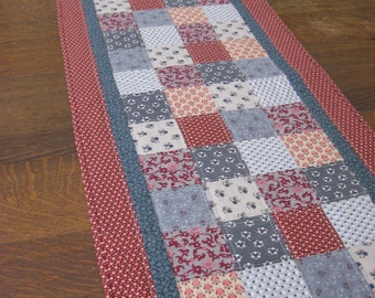 Quilted Table Runner, table runner, country table runner, quilted table runners, quilted patchwork runner, primitive table runner