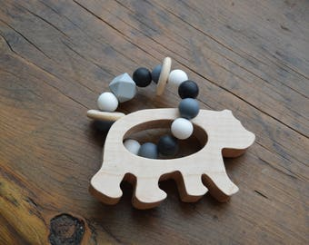 Bear Teether / Wooden Teether / Silicone Beads / Natural Teether / Baby Teether / Baby Shower Gift / Newborn Gift / Infant Toy / Wood Rattle