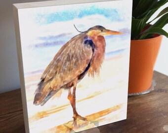 Heron painting, 8x10, digital watercolor, watercolor painting, heron art, blue heron wall art, heron art gifts, coastal birds, coastal gifts