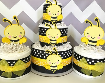 SET OF 3 Bumble Bee Diaper Cakes, Bumble Bee Baby Shower Centerpieces, Bee Party Decorations