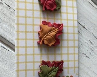 """SALE Maple Leaf Buttons, Fall Friends Collection """"Maple Leaves"""" Style FA123 by Buttons Galore, Carded Set of 3, Fall Leaves, Shank Back Butt"""