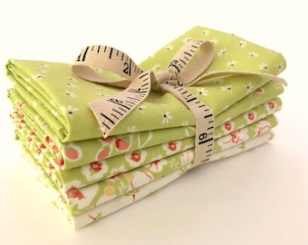 Green Fig Tree Coney Island Fabric - Short Stack Five Fat Quarter Bundle - Moda Fig Tree Fabric - Green Fig Tree Quilt Fabric