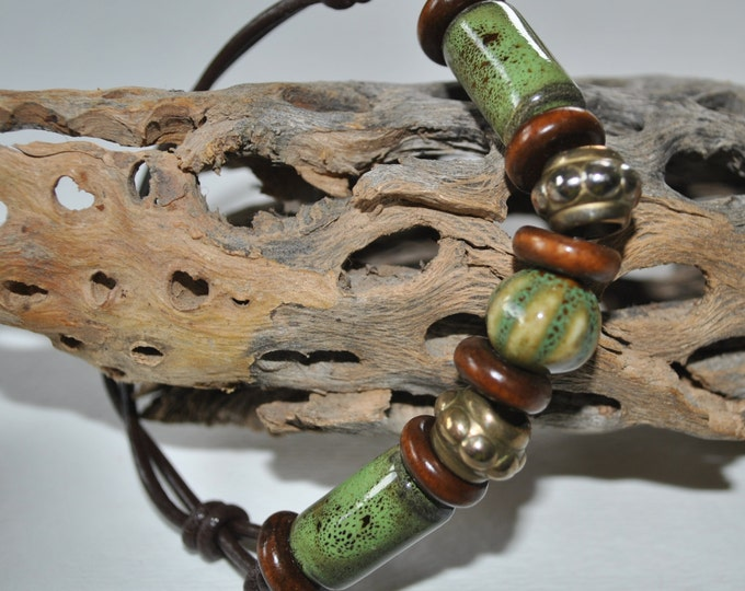 Men's ceramic bracelet on leather with brown and green beads, brass beads,  Men's