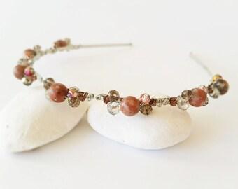 Brown headband, Crystals hair accessories, Jasper headband, Handmade headband, Stones headband, Princess diadem, Hair accessory