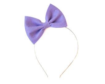 Lilac Betty Bow - Purple Felt Bow - Metal Headband - Nylon Headband - Big Bow Headband - Easter Hair Bow - Spring Bow - Girly Hair Bow