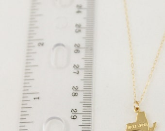 20% OFF FLASH SALE Dainty Gold New York State Handmade Delicate Tiny State Necklace by Coco & Marie