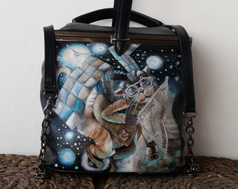Real leather backpack with swarovski crystals and handmade painting