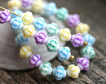 40pc Fancy bicone beads Mix in Pastel colors Blue, Mint, Yellow, Pink, Czech Glass pressed white beads - 6mm - 2564