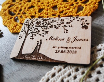 Wood Save The Date Magnets Tree Save the dates Wedding Save-The-Date-Magnet Love Tree Save the date Rustic Wedding Invitation Laser Engraved