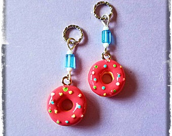 Hearing Aid Charms:  Delightful Pink Sprinkled Donuts with Glass and Czech Glass Accent Beads!