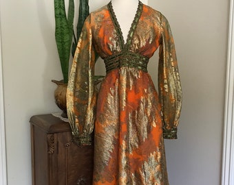 1960's Ricco California Orange Brocade  Aline Dress with bronze abstract leave design