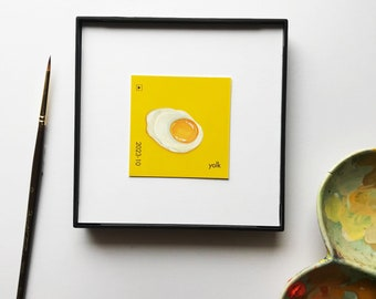 "Original miniature acrylic painting, ""Yolk"""