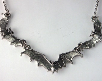 Triple Bat Necklace