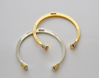 Gold and Silver Bangle Bracelet - Horse Hoof Equestrian Jewelry