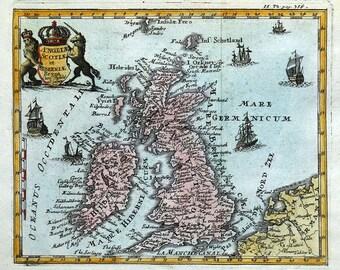 BRITISH ISLES, Angliae, Scotiae et Hiberniae, De La Feuille, antique map c1735