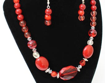 Red Ruby Necklace and Earring Set