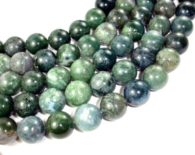 Moss Agate Beads, 18mm Round Beads, 15 Inch, Full strand, Approx 21 beads, Hole 1.2 mm (323054010)