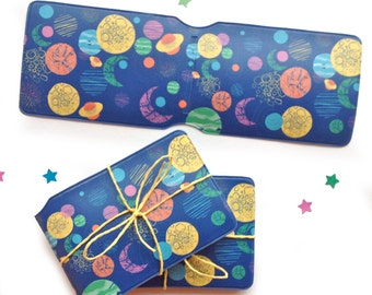 Vinyl Travel card holder, Space Patterned design, colourful, fun Oyster wallet, pass holder - suitable for train or bus tickets/credit cards