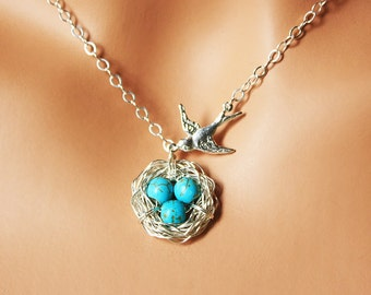 Robin Nest Necklace - Sterling Silver Bird Nest of Three (3) Necklace w/ Mama Bird - Mother-To-Be of Triplets / Mother's Day Gift