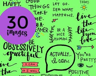 30 Pep Talk Elements, Hand-drawn, Clip-art, Digital Download