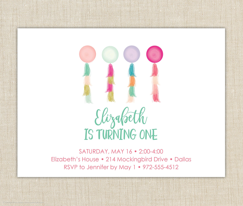First Birthday Invitation Girl. First Birthday Invitation.