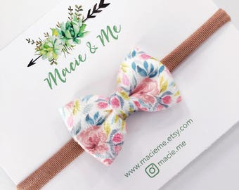Floral Suede Bow / Headband or Clip
