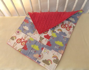 Sale - Bunnies and Bikes Minky Baby and Toddler Quilt, Security Blanket - Lovey - Cradle, Carseat, Stroller, Travel Soother